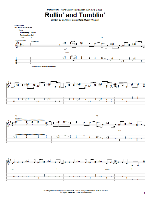 Cream Rollin' And Tumblin' sheet music notes and chords. Download Printable PDF.