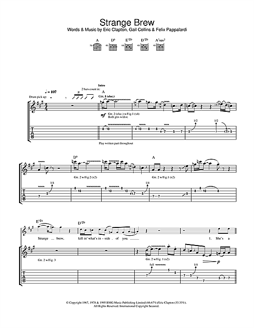 Cream Strange Brew sheet music notes and chords. Download Printable PDF.