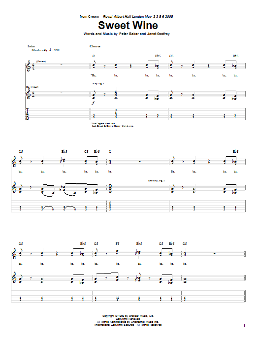 Cream Sweet Wine sheet music notes and chords. Download Printable PDF.