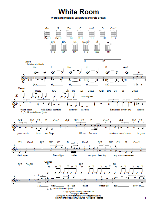 Cream White Room sheet music notes and chords