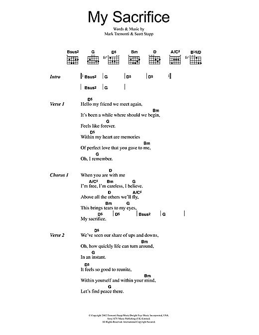 Creed My Sacrifice sheet music notes and chords. Download Printable PDF.