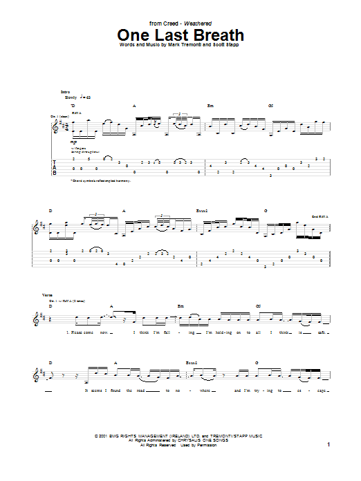 Creed One Last Breath sheet music notes and chords. Download Printable PDF.