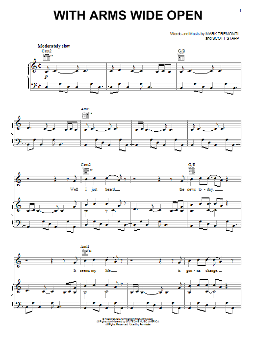 Creed With Arms Wide Open sheet music notes and chords. Download Printable PDF.