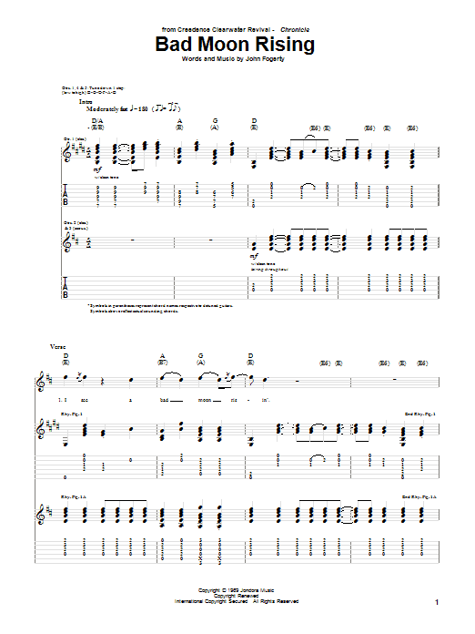 Creedence Clearwater Revival Bad Moon Rising sheet music notes and chords. Download Printable PDF.