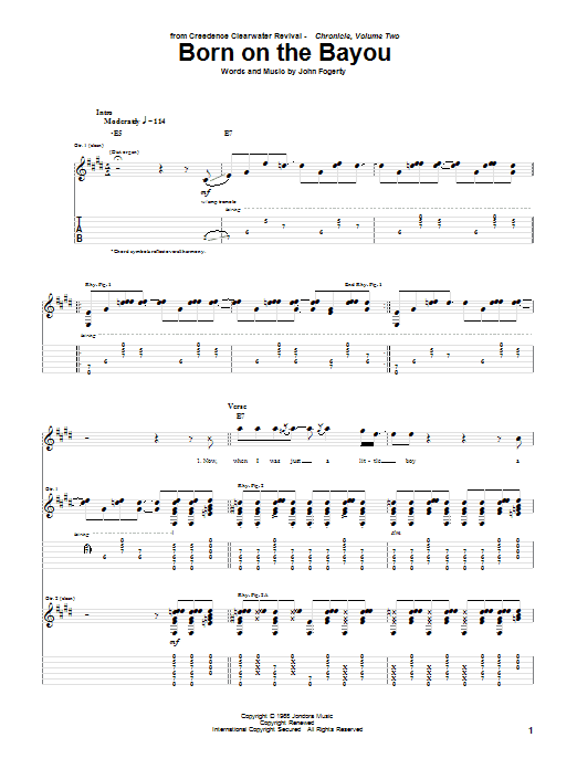 Creedence Clearwater Revival Born On The Bayou sheet music notes and chords. Download Printable PDF.