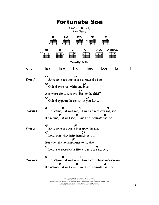 Creedence Clearwater Revival Fortunate Son sheet music notes and chords. Download Printable PDF.