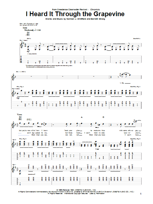 Creedence Clearwater Revival I Heard It Through The Grapevine sheet music notes and chords
