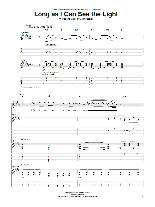 Creedence Clearwater Revival Long As I Can See The Light sheet music notes and chords. Download Printable PDF.