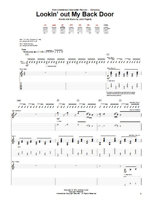 Creedence Clearwater Revival Lookin' Out My Back Door sheet music notes and chords