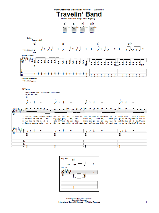 Creedence Clearwater Revival Travelin' Band sheet music notes and chords. Download Printable PDF.