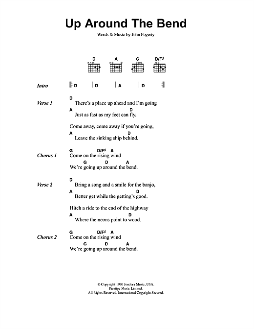 Creedence Clearwater Revival Up Around The Bend sheet music notes and chords. Download Printable PDF.