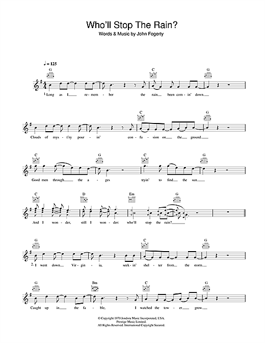 Creedence Clearwater Revival Who'll Stop The Rain sheet music notes and chords. Download Printable PDF.