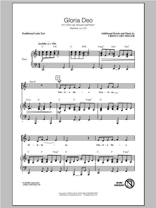 Cristi Cary Miller Gloria Deo sheet music notes and chords