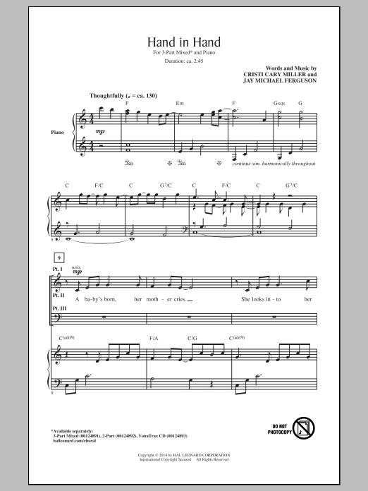 Cristi Cary Miller Hand In Hand sheet music notes and chords. Download Printable PDF.