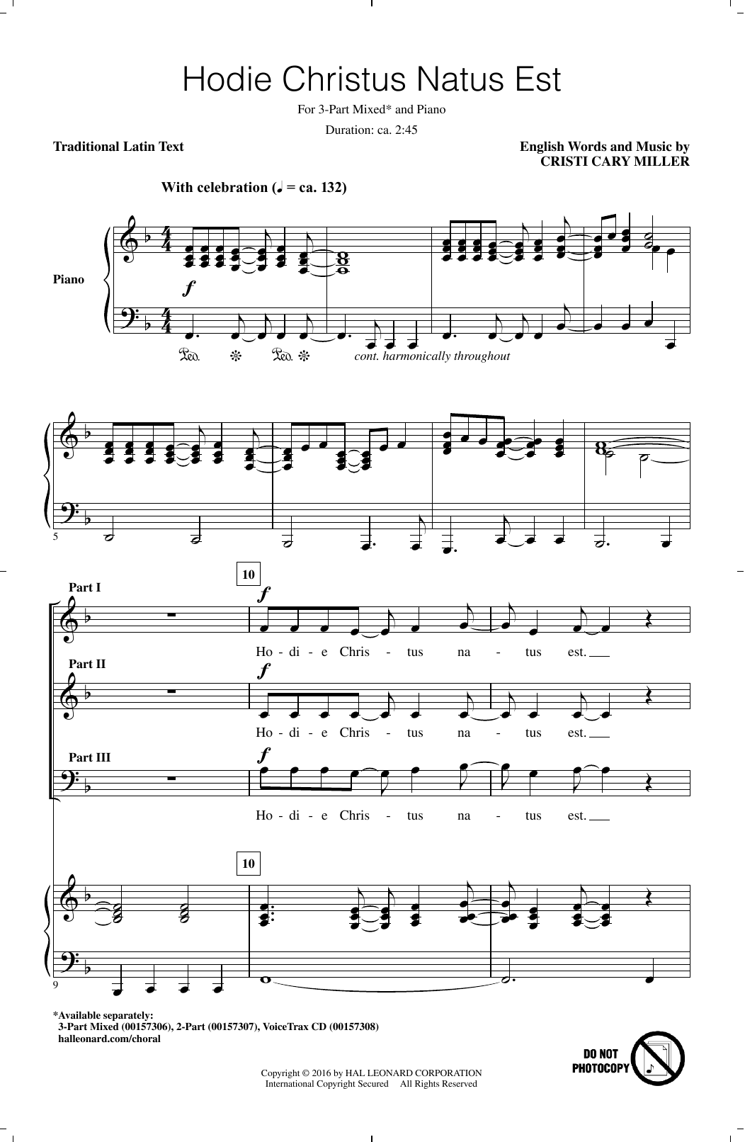 Cristi Cary Miller Hodie Christus Natus Est sheet music notes and chords. Download Printable PDF.