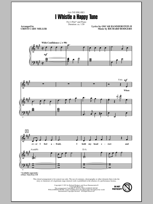 Cristi Cary Miller I Whistle A Happy Tune sheet music notes and chords. Download Printable PDF.