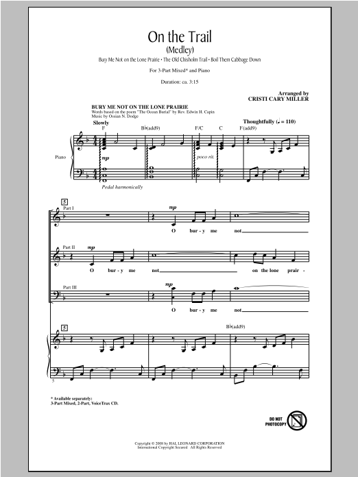Cristi Cary Miller On The Trail (Medley) sheet music notes and chords. Download Printable PDF.