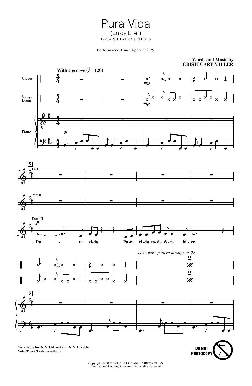 Cristi Cary Miller Pura Vida (Enjoy Life) sheet music notes and chords. Download Printable PDF.