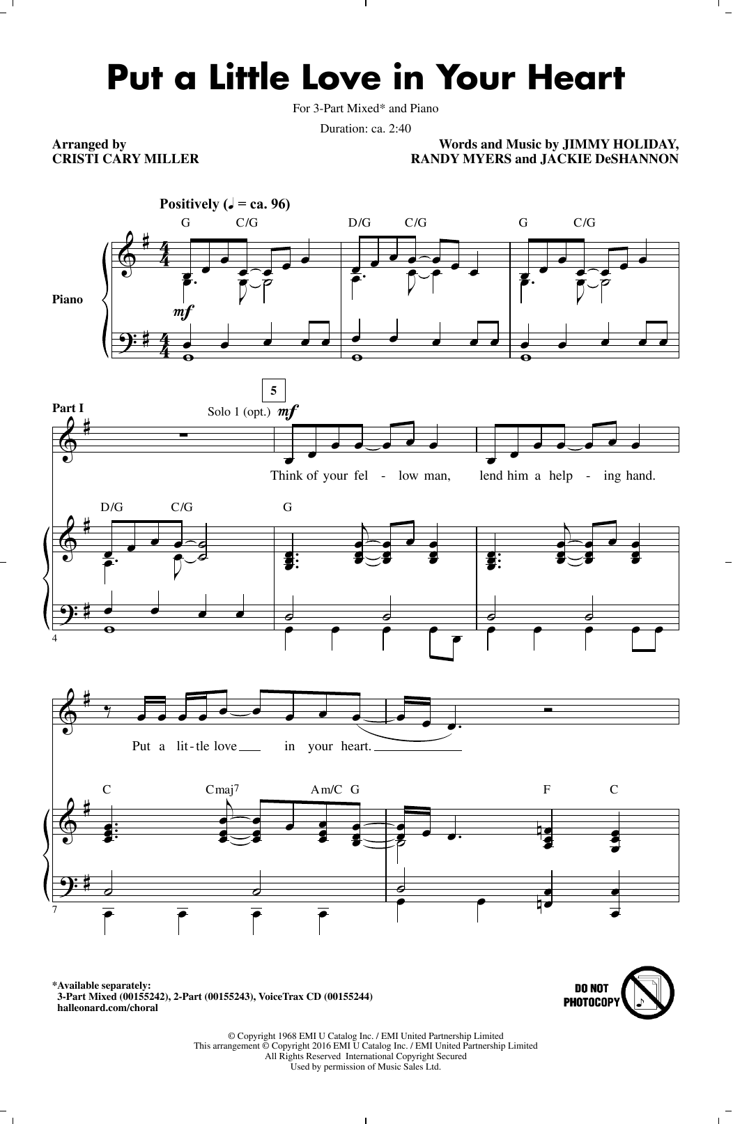 Cristi Cary Miller Put A Little Love In Your Heart sheet music notes and chords. Download Printable PDF.