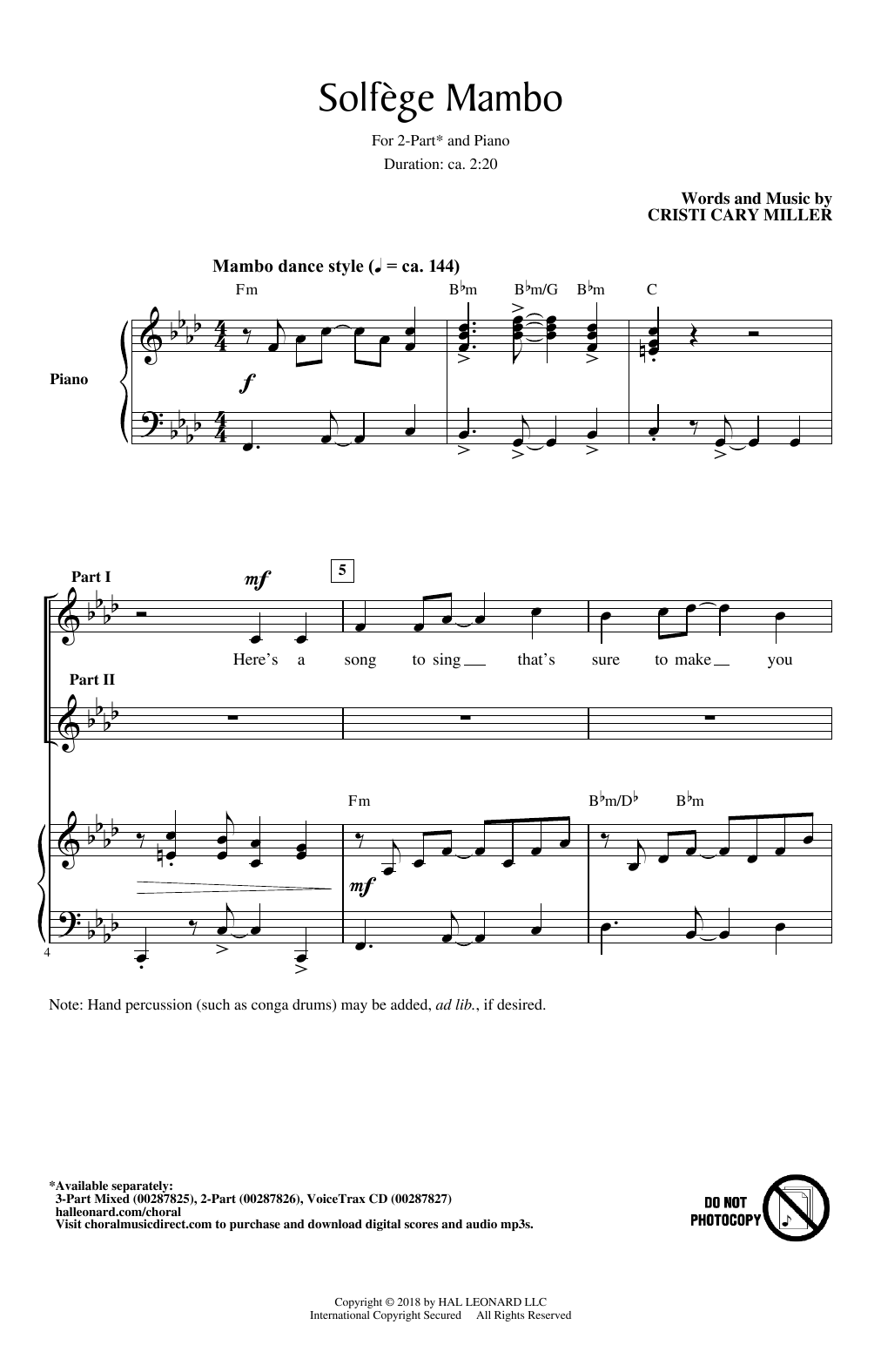 Cristi Cary Miller Solfege Mambo sheet music notes and chords