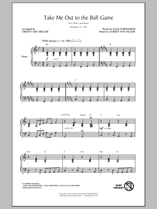 Cristi Cary Miller Take Me Out To The Ball Game sheet music notes and chords. Download Printable PDF.