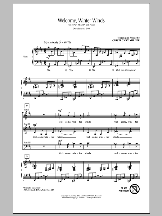 Cristi Cary Miller Welcome Winter Winds sheet music notes and chords. Download Printable PDF.