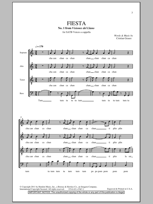 Cristian Grases Fiesta (No. 1 From Visiones Dellano) sheet music notes and chords. Download Printable PDF.