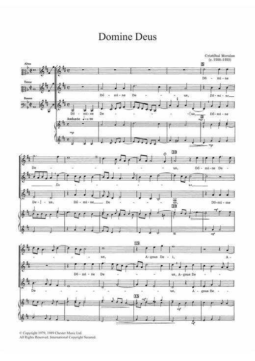 Cristobal Morales Domine Deus sheet music notes and chords. Download Printable PDF.