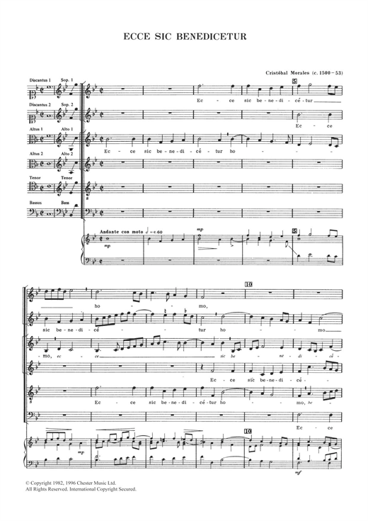 Cristobal Morales Ecce Sic Benedicetur sheet music notes and chords. Download Printable PDF.