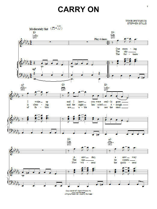 Crosby, Stills & Nash Carry On sheet music notes and chords. Download Printable PDF.