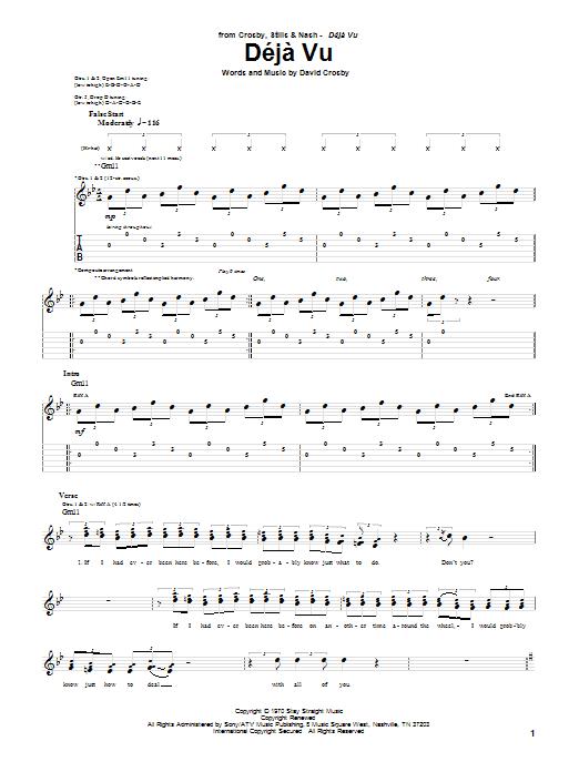 Crosby, Stills & Nash Deja Vu sheet music notes and chords. Download Printable PDF.