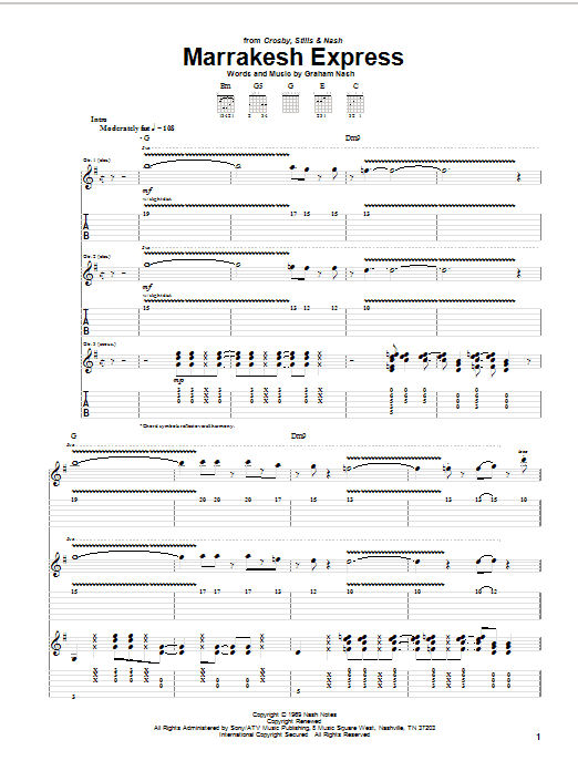 Crosby, Stills & Nash Marrakesh Express sheet music notes and chords. Download Printable PDF.