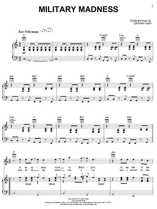 Crosby, Stills & Nash Military Madness sheet music notes and chords. Download Printable PDF.