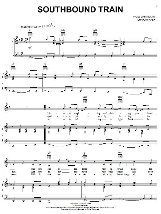 Crosby, Stills & Nash Southbound Train sheet music notes and chords
