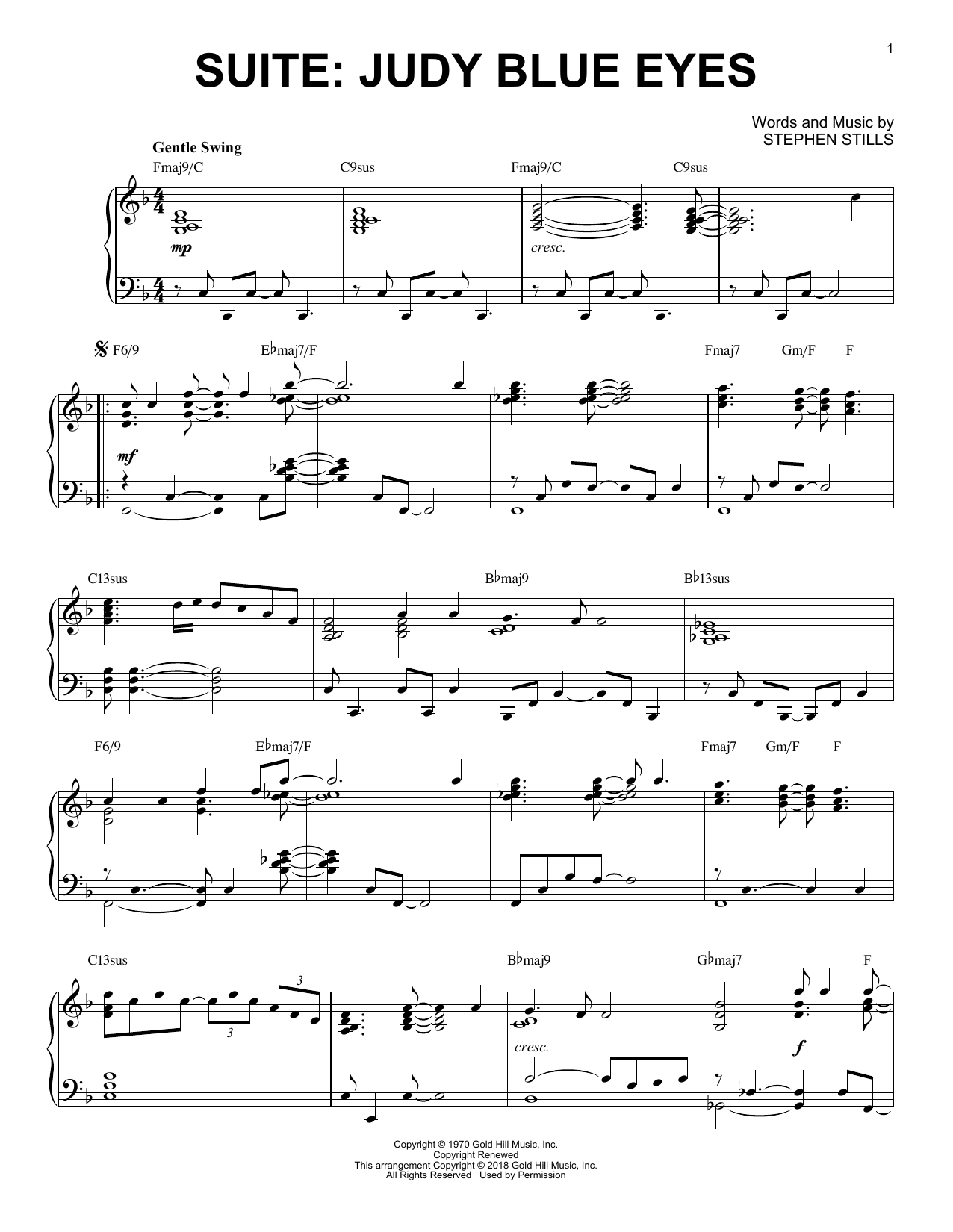 Crosby, Stills & Nash Suite: Judy Blue Eyes [Jazz version] sheet music notes and chords. Download Printable PDF.