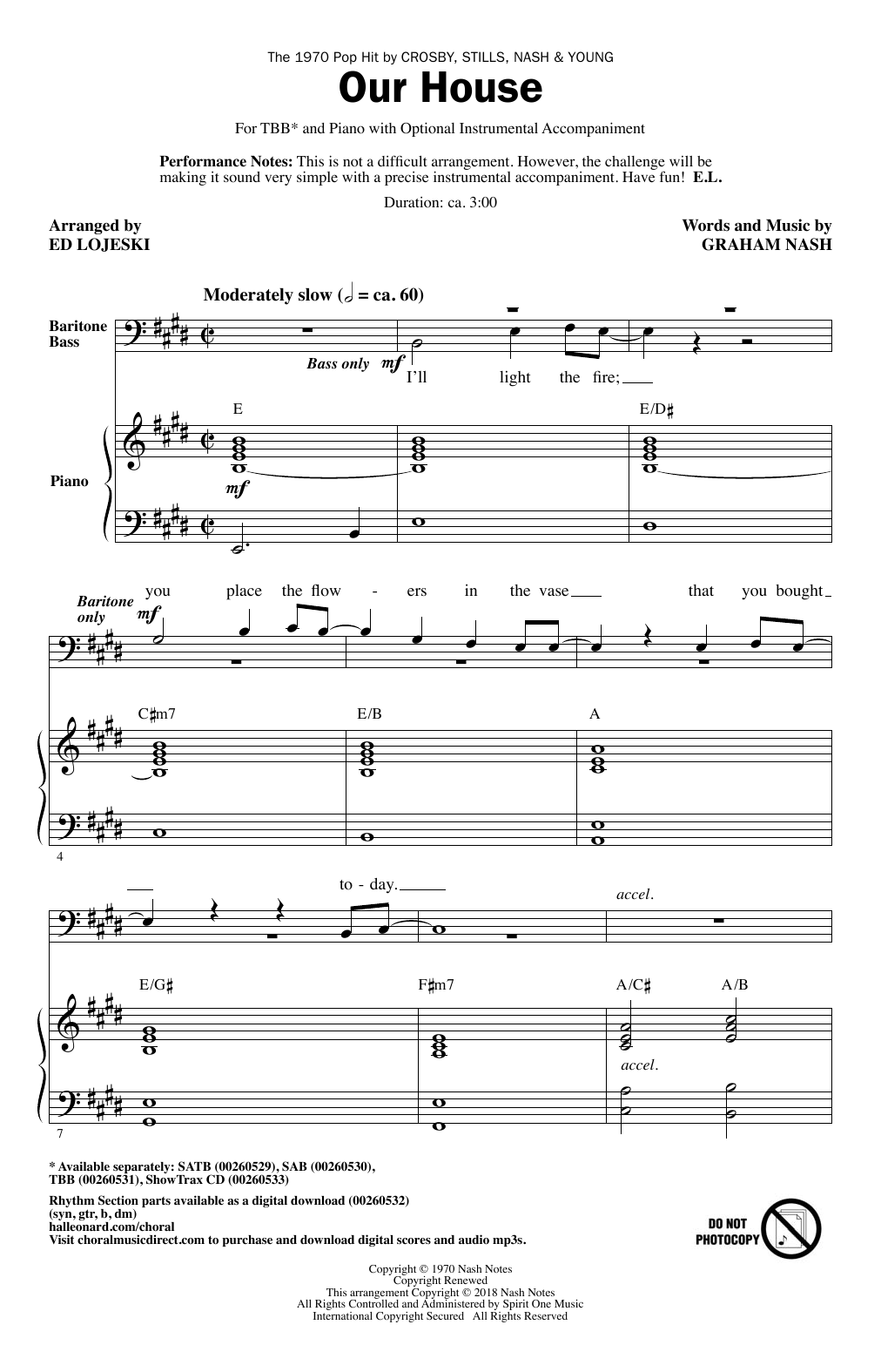 Crosby, Stills, Nash & Young Our House (arr. Ed Lojeski) sheet music notes and chords. Download Printable PDF.