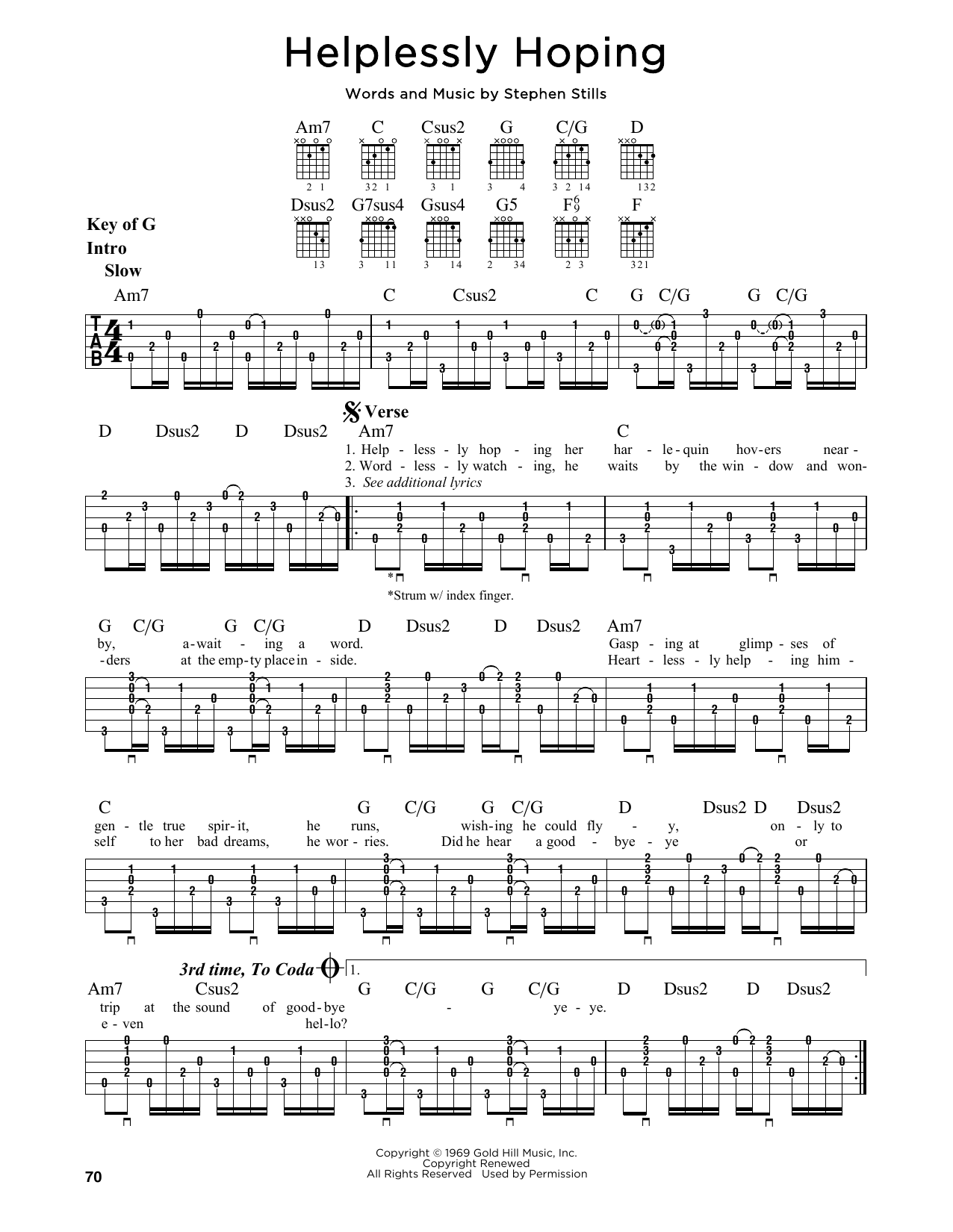 Crosby, Stills and Nash Helplessly Hoping sheet music notes and chords. Download Printable PDF.