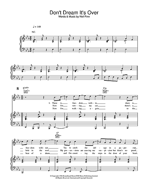 Crowded House Don't Dream It's Over sheet music notes and chords. Download Printable PDF.