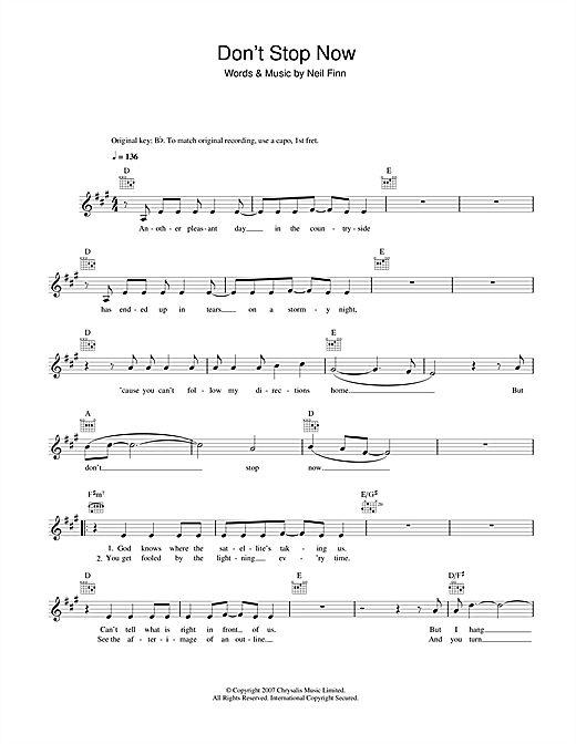 Crowded House Don't Stop Now sheet music notes and chords. Download Printable PDF.