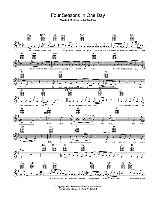 Crowded House Four Seasons In One Day sheet music notes and chords. Download Printable PDF.