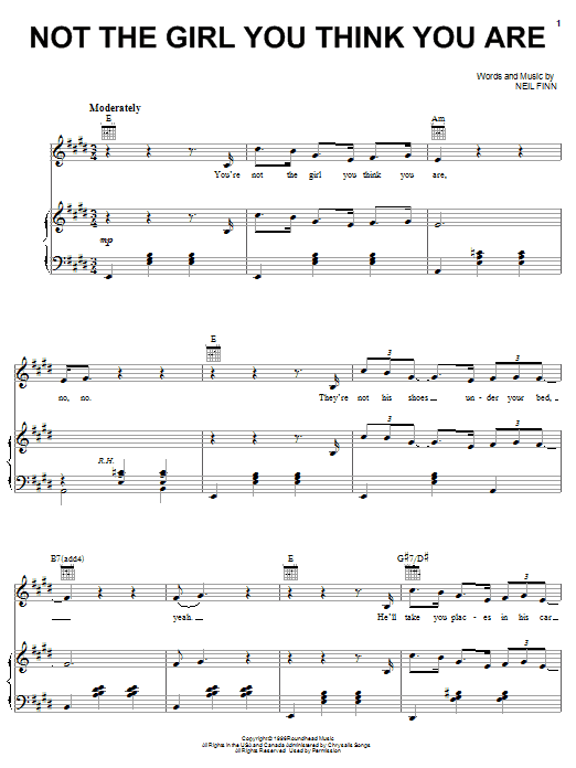 Crowded House Not The Girl You Think You Are sheet music notes and chords. Download Printable PDF.