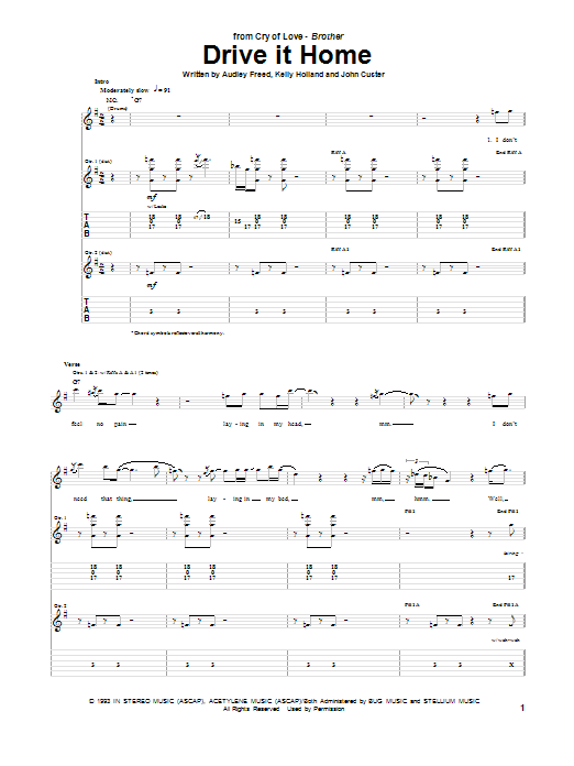 Cry of Love Drive It Home sheet music notes and chords. Download Printable PDF.