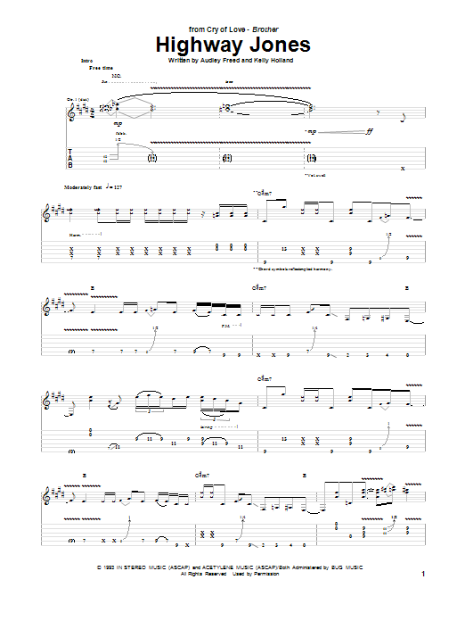 Cry Of Love Highway Jones sheet music notes and chords. Download Printable PDF.