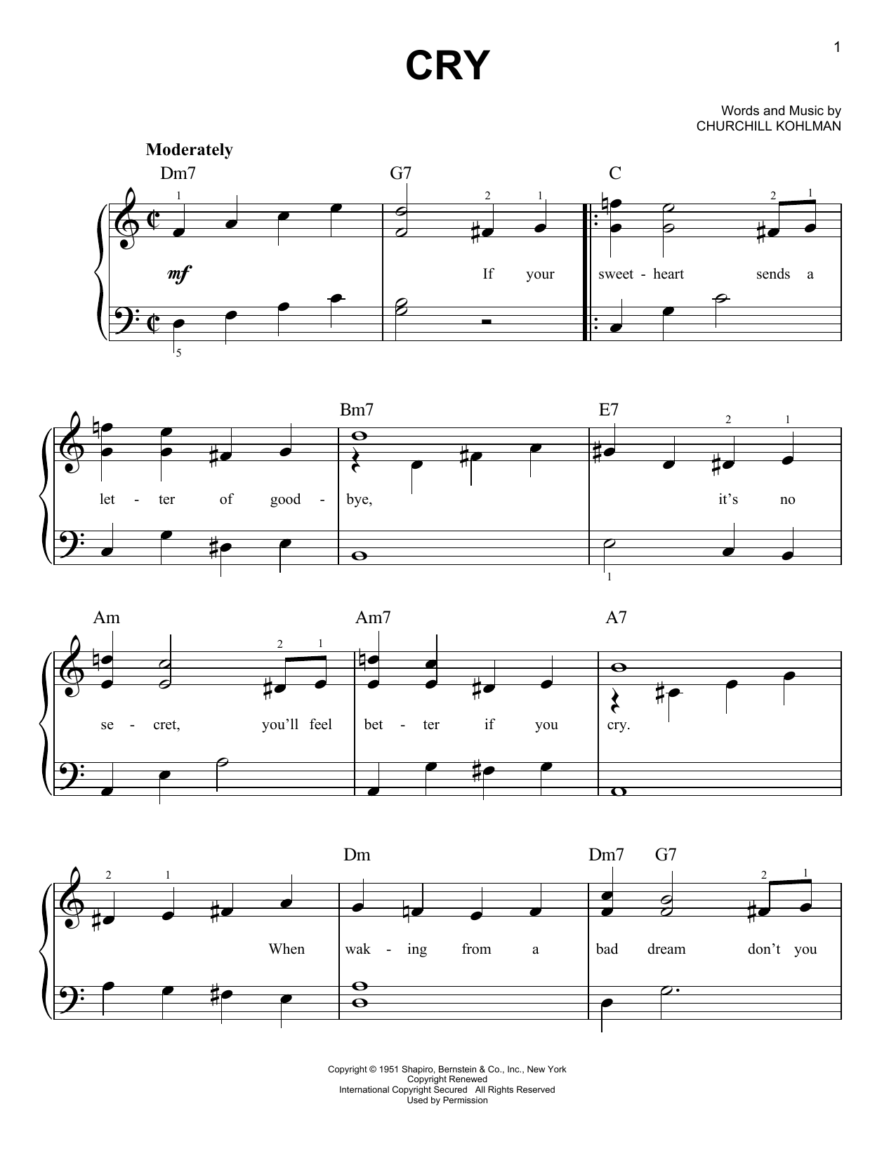 Crystal Gayle Cry sheet music notes and chords. Download Printable PDF.