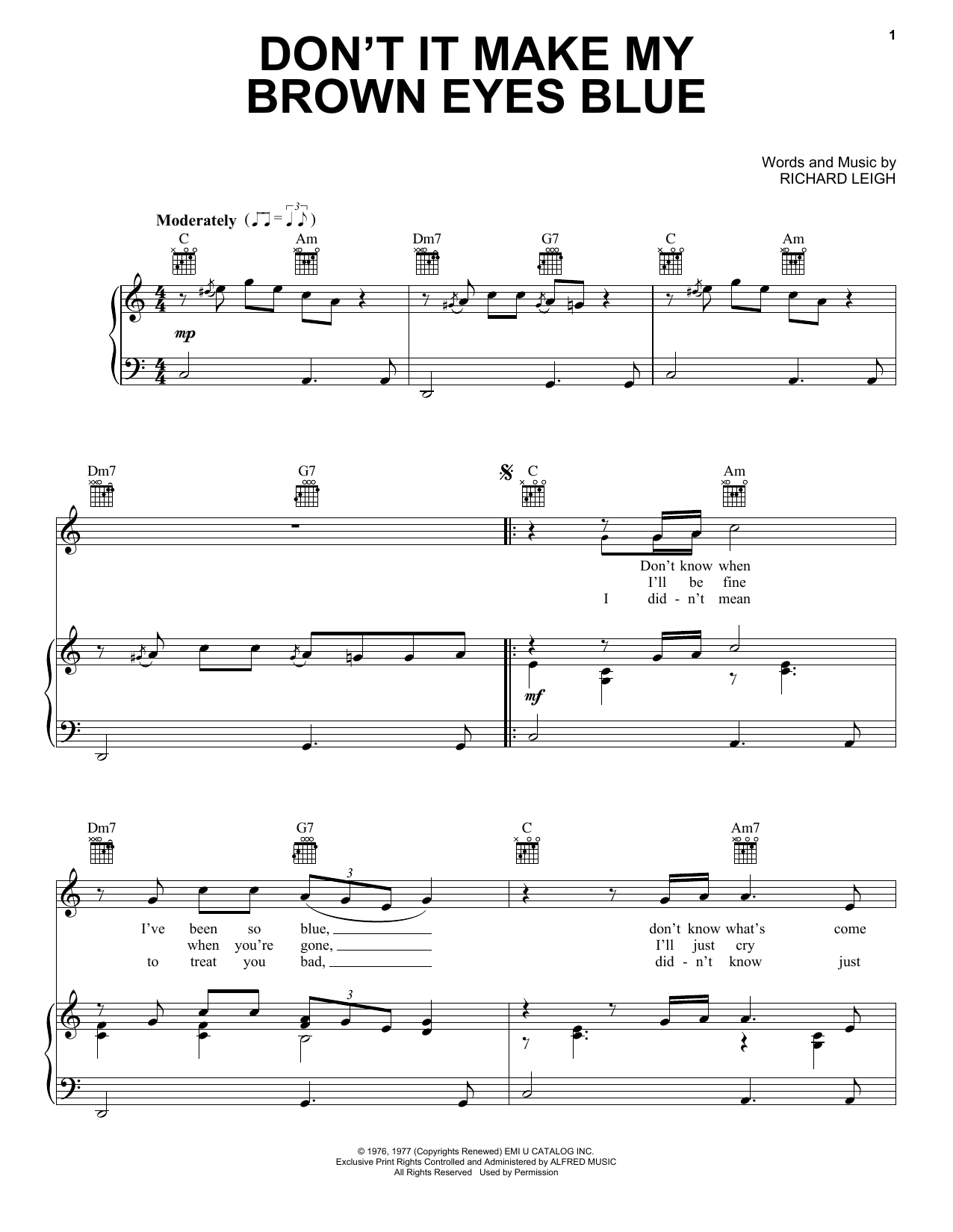 Crystal Gayle Don't It Make My Brown Eyes Blue sheet music notes and chords. Download Printable PDF.