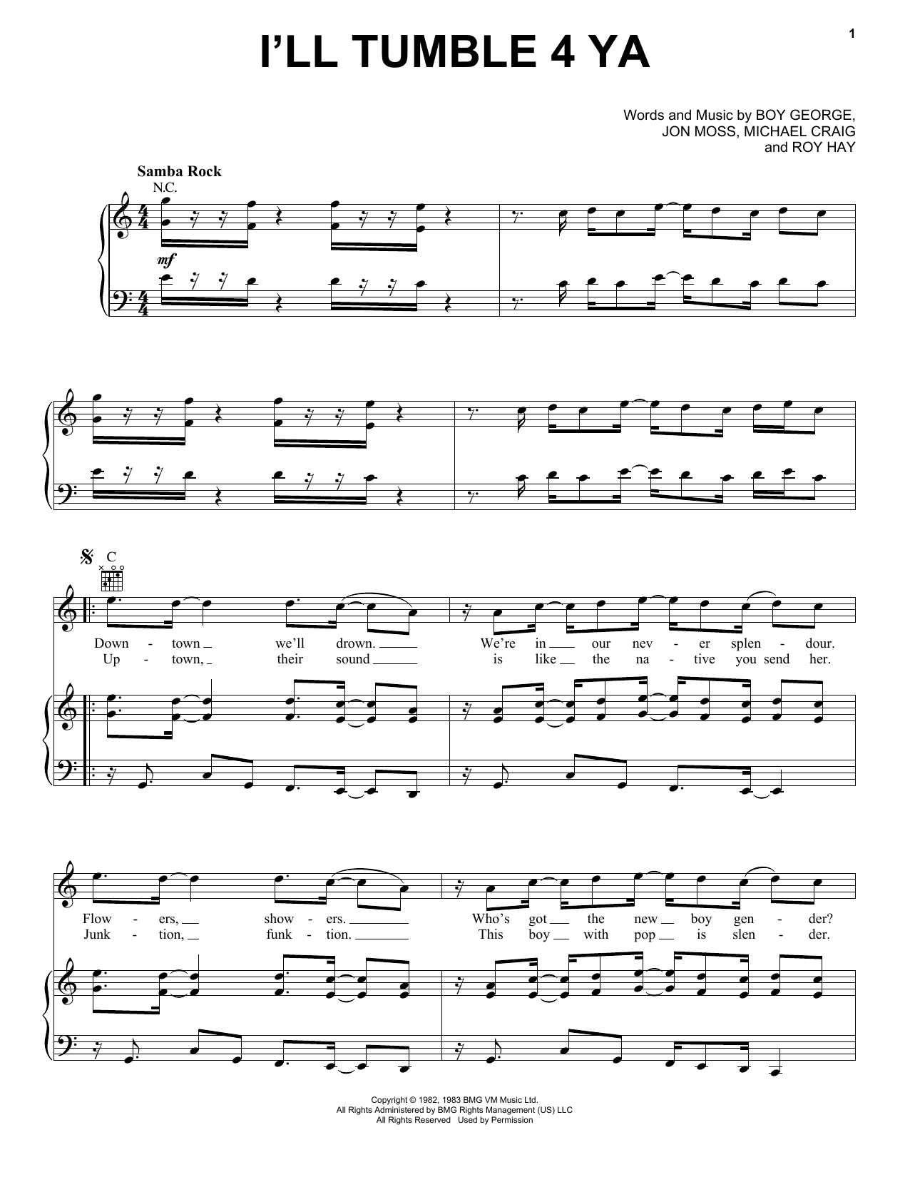 Culture Club I'll Tumble 4 Ya sheet music notes and chords. Download Printable PDF.