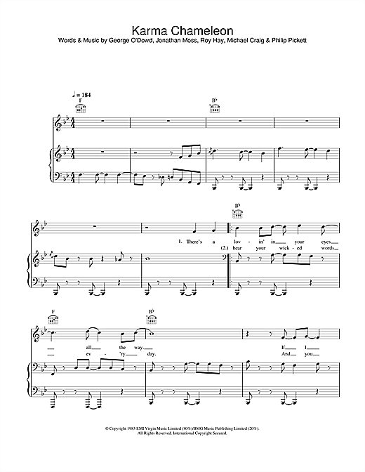 Culture Club Karma Chameleon sheet music notes and chords
