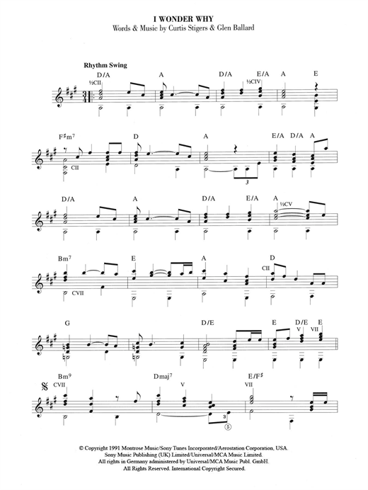 Curtis Stigers I Wonder Why sheet music notes and chords. Download Printable PDF.