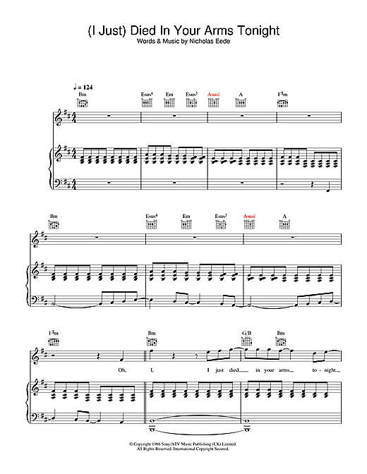 Cutting Crew (I Just) Died In Your Arms Tonight sheet music notes and chords. Download Printable PDF.