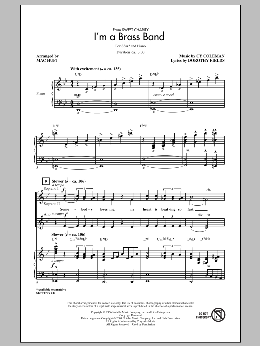 Cy Coleman I'm A Brass Band (from Sweet Charity) (arr. Mac Huff) sheet music notes and chords. Download Printable PDF.